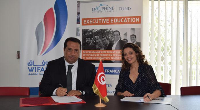 Amina Bouzguenda-Zeghal Directrice Générale de l'Université Paris-Dauphine I Tunis et Mohamed Mellousse Directeur Général de Wifak Bank