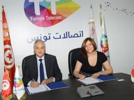 Mohamed Fadhel Kraiem, PDG de TUNISIE TELECOM, et Yosr Chouari, DG de TUNISAIR EXPRESS