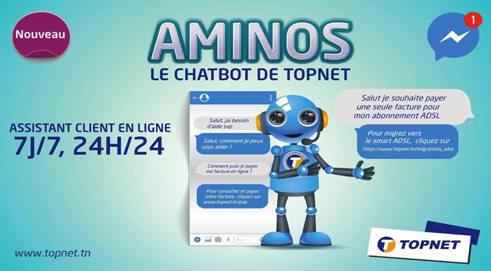 TOPNET AMINOS nouvelle plateforme CHATBOT